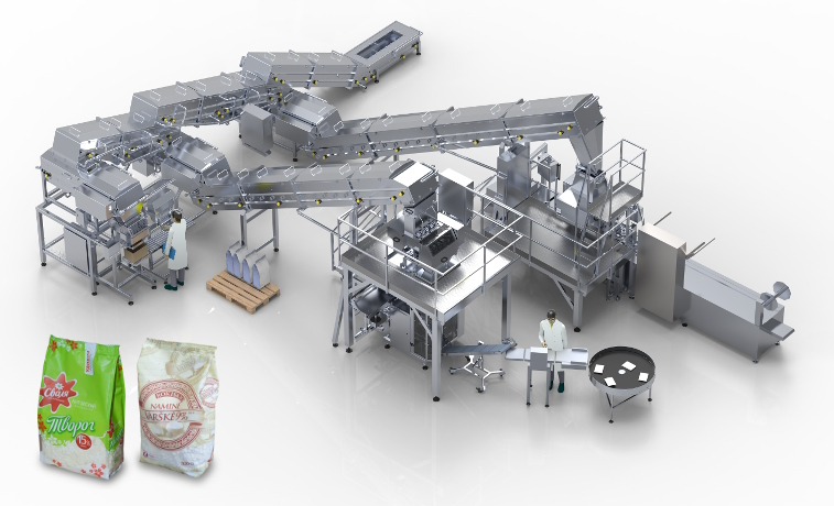 Packaging line for packing of loose soft curd